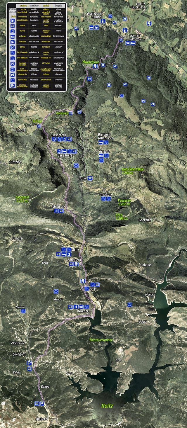 Mapa de la calzada romana de Arce